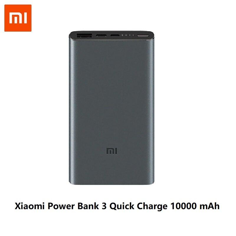 Xiaomi Mi 3 Pro 10000 мАч Внешний аккумулятор Двусторонняя Быстрая зарядка USB-C Двойной вход выход PLM12ZM 10000 мАч Внешний аккумулятор для мобильного телефона - Цвет: Xiaomi 10000 Black