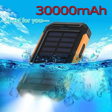 30000 mAh مقاوم للماء خزان طاقة يعمل بالطاقة الشمسية المزدوجة USB مع SOS LED شاحن السفر Powerbank لجميع الهواتف في جميع أنحاء العالم