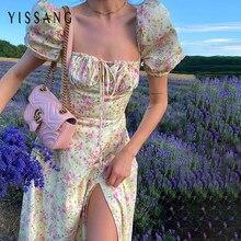 Yissang manga curta puff vestido de verão feminino floral impressão ruched festa alta divisão vestidos longos feminino cordão sexy sundress