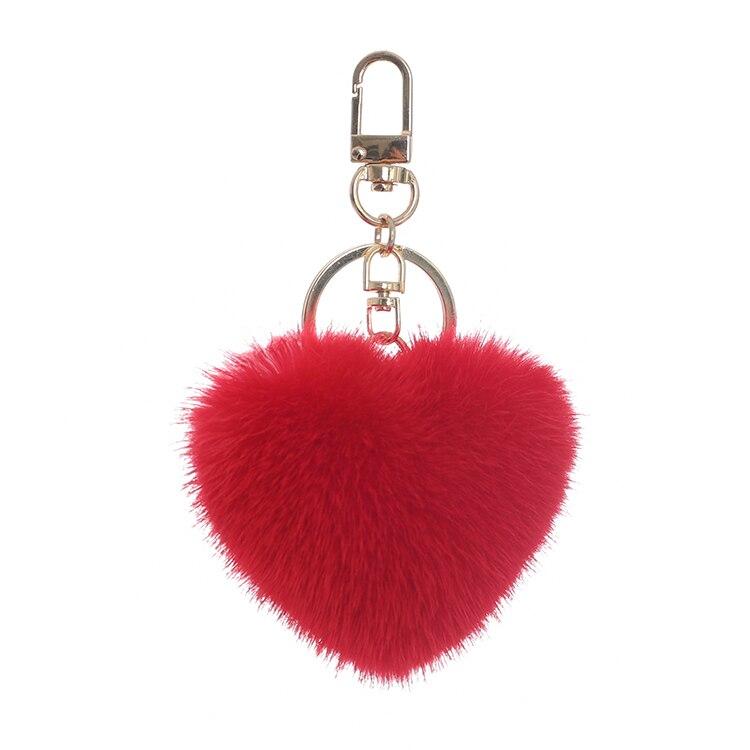 Heart-shaped super beautiful mink fur bag pendant heart-shaped car pendant cute key chain