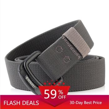 Military Equipment Belt Men Elastic Nylon Tactical Belts For Jeans Pants Solid Strap Canvas Double Ring Metal Buckle Waist Belt