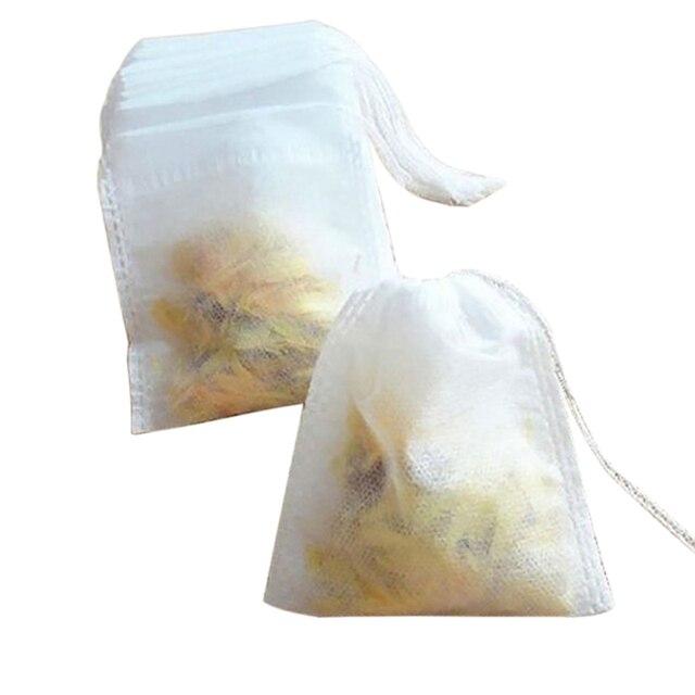 Sachets de thé 100 pièces/lot   Vide, parfumé, pochette à cordon, sac de 5*7CM, filtre à sceller, cuisiner, herbe épices, pochettes de café ample, outils sacs à café
