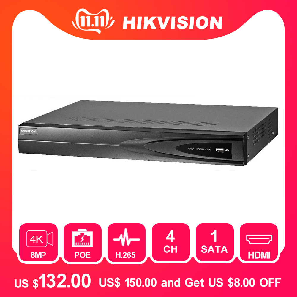 Hikvision 4 Channel CCTV System 4CH NVR POE DS-7604NI-K1/4P 1SATA 4 POE Ports HDMI And VGA Embedded Plug & Play Video Recorder