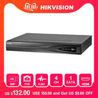 Hikvision 4 Kanal CCTV System 4CH NVR POE DS-7604NI-K1/4 P 1SATA 4 POE Ports HDMI und VGA embedded Plug & Play Video Recorder