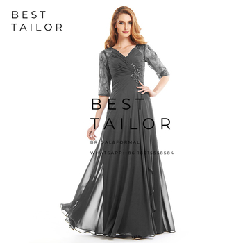 Navy Blue Chiffon Mother of the Bride Dresses for Weddings 2019 V-Neck Lace Half Sleeves Pleats Wedding Party Gowns Hollow Back 2