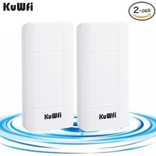 KuWFi 2Pcs 300Mbps Wireless CPE Router Outdoor 1KM CPE Wi fi Access Point WDS Wifi Bridge Extender Wifi Repeater For IP Cameras