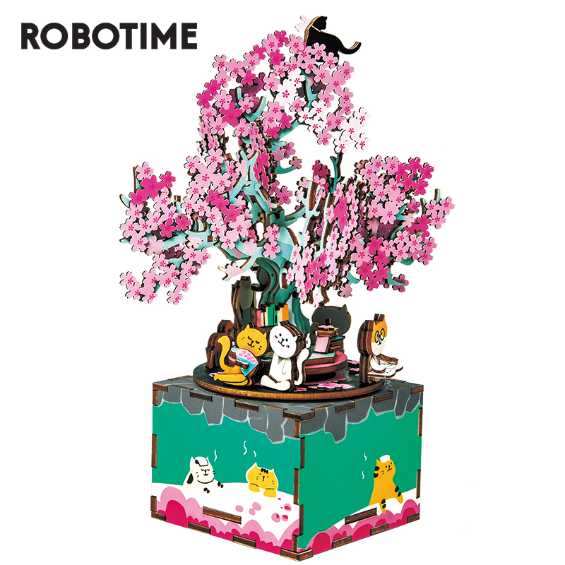 Robotime DIY Wooden Music Box 3D Wooden Puzzle Assembly Model Building Kits Toys For Girls Birthdays Gift AM409