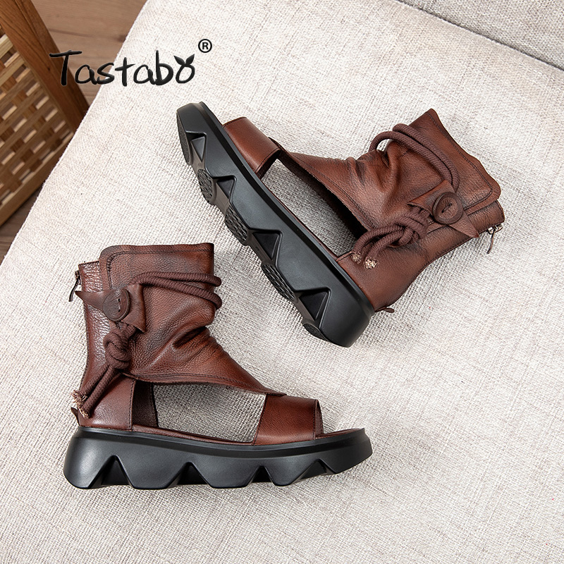 Summer Women Boots Casual Ankle Boots Genuine Leather Cut-outs Sandals Retro Handmade Black Women's shoes Flat Boots S2212