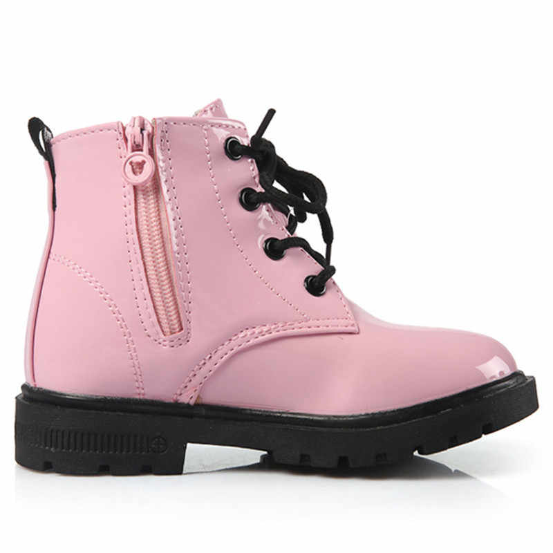 NIEUWE 2019 Meisjes Martin Laarzen Jongens Schoenen Lente Herfst PU Leer Kinderen Laarzen Mode Peuter Kinderen Laarzen Warme Winter Laarzen 3BB
