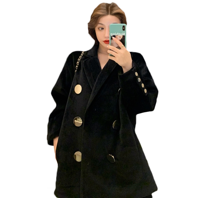 2021 New Mid-length Spring Autumn Blazers Temperament Black Thick Woolen Suit Jacket Female British Style Coat 64b