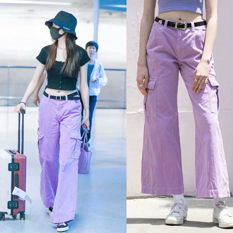 Purple Corduroy Wide Leg Pants Women Fashion StreetwearPants Female Hip Hop Dance Costumes Pants Pants & Capris