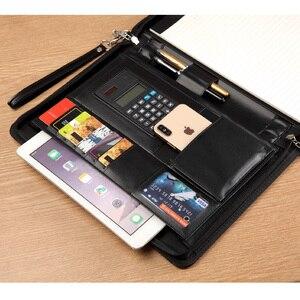 Image 5 - A4 Kıdemli PU deri padfolio İş Belge yöneticisi çantası portföy dosya klasörü ile şifreli kilit hesap makinesi fermuar klip 1321