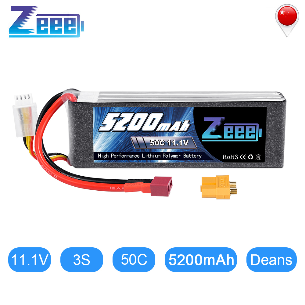 Zeee 3S 5200mAh 50C 11.1V RC LiPo Battery With Deans Plug XT60 Connector For RC Car Quadcopter Helicopter Boat RC Airplane