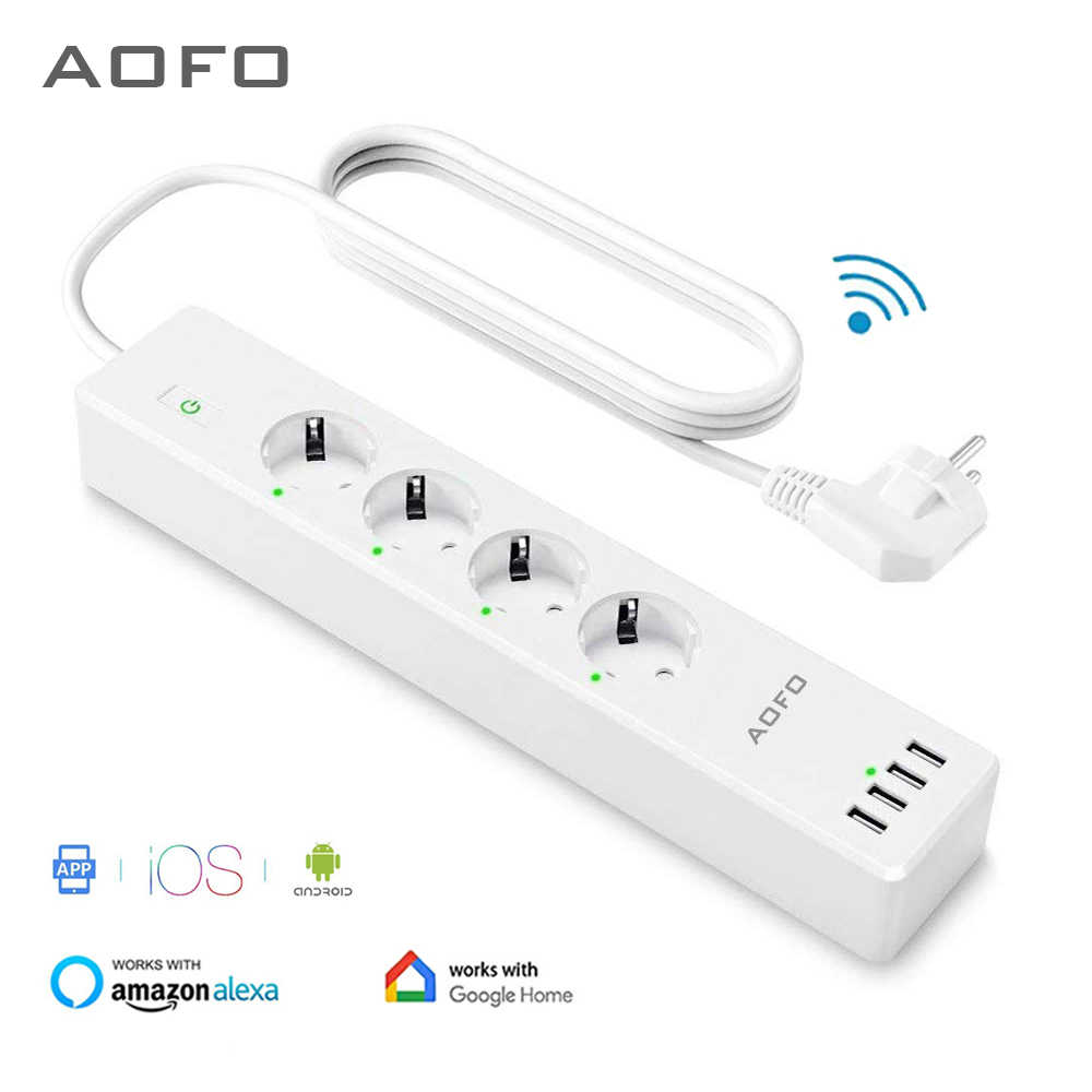 Wifi Smart Power Strip 4 Eu Outlets Plug Met 4 Usbcharging Poort Timing App Voice Control Werk Met Alexa Google thuis Assistent