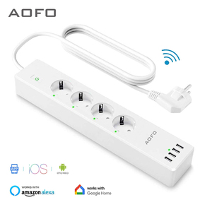 Image 1 - Wifi Smart Power Strip 4 EU Outlets Plug with 4 USBCharging Port Timing App Voice Control Work with Alexa Google Home Assistant