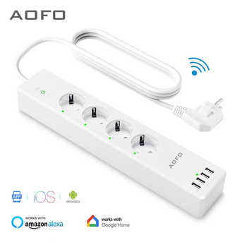 Wifi Smart Power Strip 4 Prese di UE Spina con 4 Porta USBCharging Timing App di Controllo Vocale di Lavoro con Alexa Google assistente casa