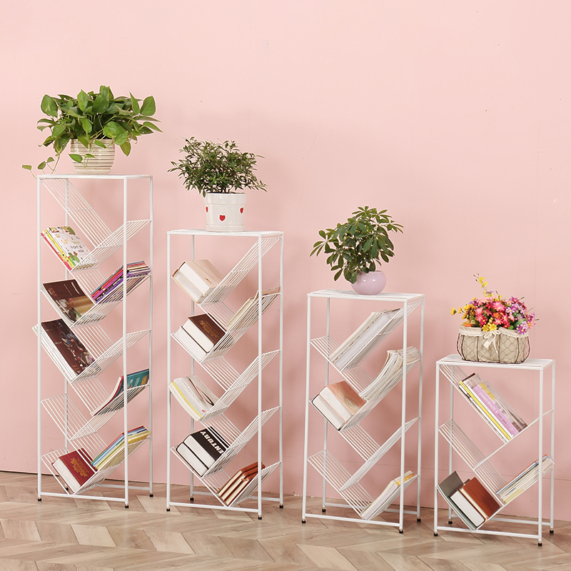Bookshelf Contains The Multi-layer Landing Flower Rack Of Tieyi. Children And Students Save The Space Tree Newspaper Rack.