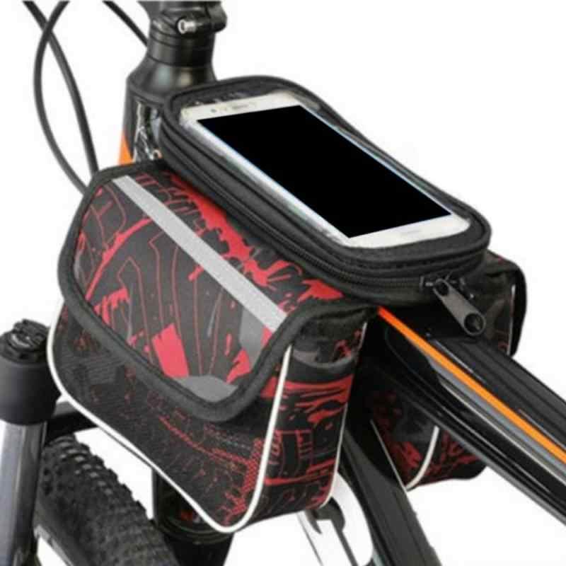 Waterproof Bicycle Frame Top Tube Handlebar Bag Touchscreen Bike Phone Bag 6.4In