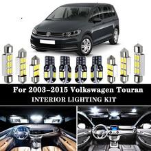 Canbus branco puro sem erro led interior, domo, mapa, luzes, kit para 2003-2015 volkswagen para vw touran 1t1 1t2 1t3