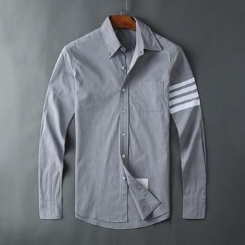 2020 Fashion TB THOM Brand Shirts Men Slim Gray Long Sleeve Casual Shirt Thin Turn Down Collar Poplin Solid Men's Clothing