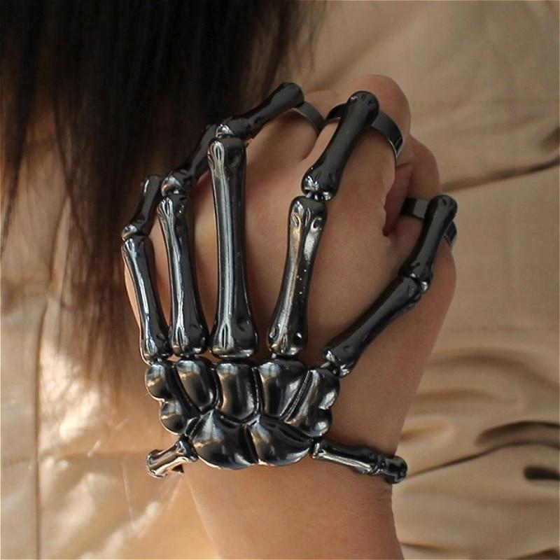 Halloween Bracelet For Women Gothic Punk Hand Skull Skeleton Elasticity Adjustable Bracelet Bangles Femme Party Accessories