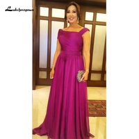 Fuchsia Elegant Mother Of The Bride Dresses Draped Floor Length Plus Size Women Evening Prom Party Dress Mother Wedding Guest Go