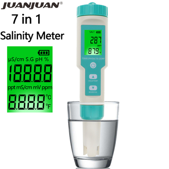 Digital  Salinity Tester 7 in 1 ORP/Salinity/PH/TDS/EC/SG/TEMP Meter ORP Monitor Water Quality Detector for Pool Aquarium 40%OFF