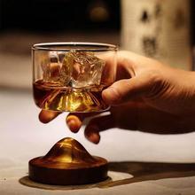 1 шт. бокалы для виски чашка горный Бурбон очки Белое Вино Виски Коктейльные стаканы с деревянной основой барная посуда подставка для вина