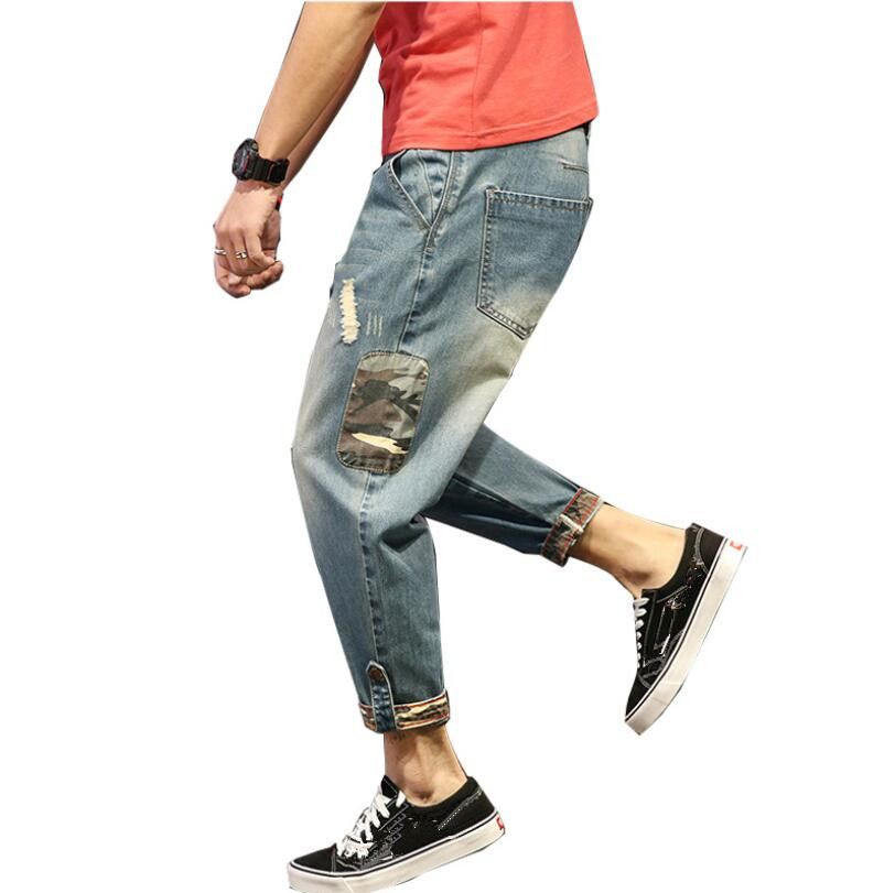 2020 Fashion Patchwork Ripped Men's Jeans Boys Loose Casual Holes Ankle-Length Harem Pants Jeans Trousers Large Size 7XL W218