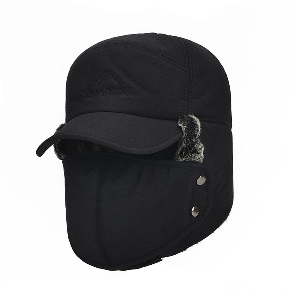 Bomber-Hats Ear-Protection Winter Women Face-Warmer Velvet Fashion Windproof Ski-Cap title=