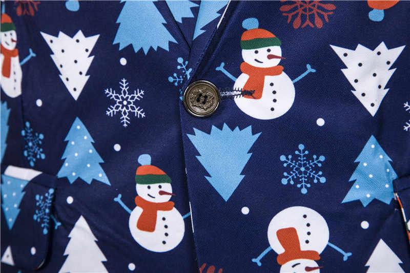 Heren Blazers Casual Nieuwe Kerstboom Sneeuwpop Print Casual Slim Fit Rood Funny Blazzer Hombre Voor Party Heren Pak Jas blazers