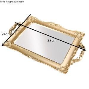 Image 5 - Europäische Quadrat Spiegel Tablett Schlafzimmer Wohnzimmer Shop Dekorationen Tasse Kosmetische Lagerung Fach Trays Dekorative Küche Home Storage
