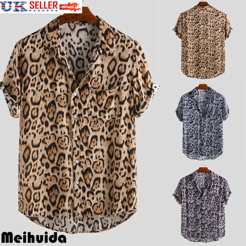 2019 Fashion Men's Leopard Print Short Sleeve Slim Fit V-Neck  Shirt Casual Daily TM-3XL Hot Sale