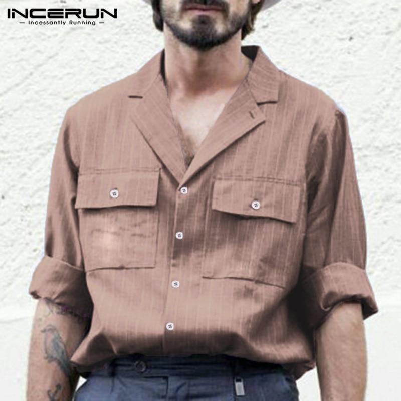 INCERUN Vintage Striped Men's Casual Shirts Streetwear Long Sleeve Pockets Button Business Brand Shirt Men Camisa Masculina 2020