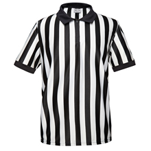 ERJ100 Series Official Pro-Style Collared Black & White Stripe Referee/Umpire Jersey, Great for Basketball, Volleyball, Football