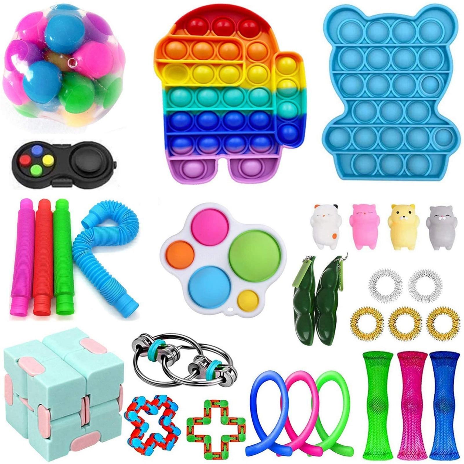 Беспокойная игрушка по дешевым ценам сенсорная Непоседа упаковка игрушек для детей стресс сенсорная игрушка набор, сенсорные игрушки с пуш...