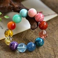 Natural Colorful Multiple JewelryTurquoise Amber Bracelet Strawberry Rhodochrosite Aquamarine TitaniumCrystal Bead Bracelet16MM