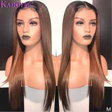 Dark Brown Straight Human Hair Wig Remy Hair 13X6 Lace Front Wig Malaysia Ombre Lace Front Human Hair Wigs Preplucked For Women cheap Kadoyee Long Lace Front wigs Half Machine Made Half Hand Tied Swiss Lace 1 Piece Only Medium Brown Malaysia Hair Average Size
