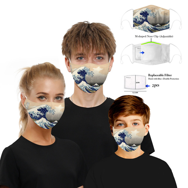 Printing Reusable Protective PM2.5 Filter Mouth Mask Anti Dust Face Mask Bacteria Proof Flu Mask Women Anime Mask 1