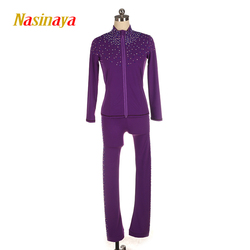 Customized Figure Skating Suits Jacket and Pants Long Trousers for Girl Women Training Ice Skating Warm Shiny Rhinestones
