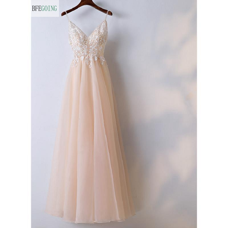Champagne Organza Lace V-Neck  Spaghetti Straps Sleeveless  Floor-Length A-line Wedding Dress Custom Made