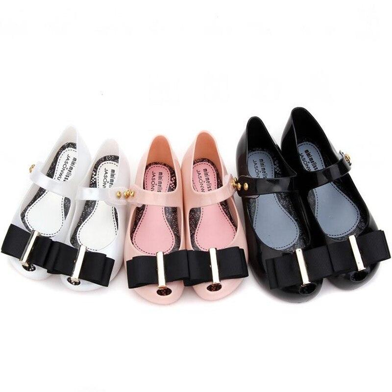 Children's Summer Sandal PVC Fashion Bow Jelly Shoes Kids Girl Mini Melissa Soft Candy Shoes Princess Beach Sandal Shoes SH142
