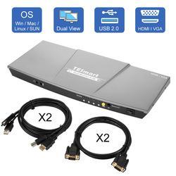 HDMI KVM Schalter Dual Monitor 4 Port (2 HDMI und 2 VGA) Eingang 2 Port (HDMI) ausgang Kvm-switch HDMI 4K @ 30Hz KVM Kabel und VGA Kabel
