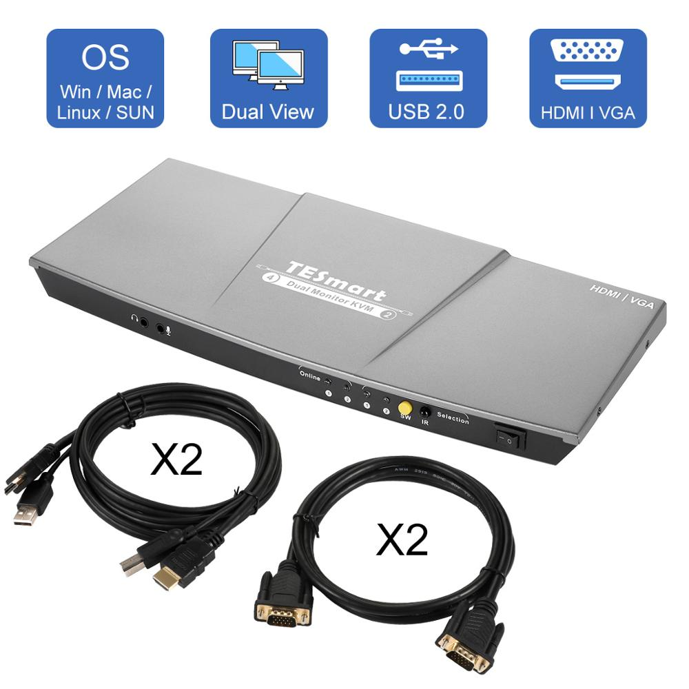 HDMI KVM Switch Dual Monitor 4 Port(2 HDMI And 2 VGA) Input 2 Port(HDMI) Output KVM Switch HDMI 4K@30Hz KVM Cable And VGA Cable