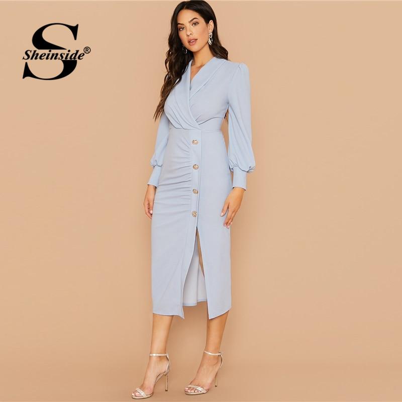 Sheinside Elegant Shawl Collar Pencil Dress Women 2019 Autumn Button Up Front Split Dresses Ladies Bishop Sleeve Wrap Dress