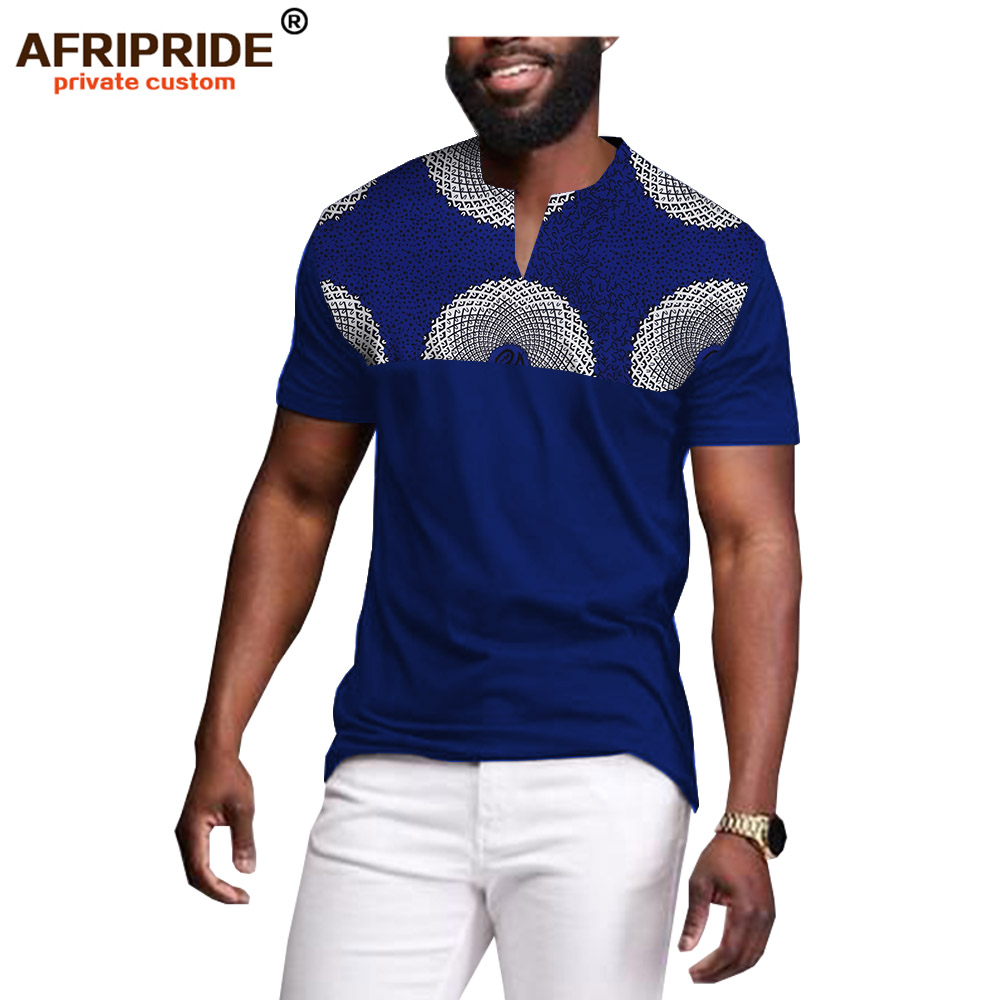 2019 African Men Clothing Dashiki Tops Print Shirts Wax Cotton Blouse Bazin Riche Plus Size Wear Big And Tall AFRIPRIDE A1912005