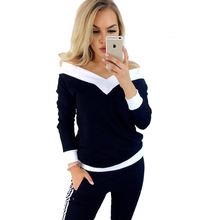 Autumn and winter new style Women's long sleeve bottoming shirt Loose long sleeve V-neck strapless contrast shirt T-shirt недорого