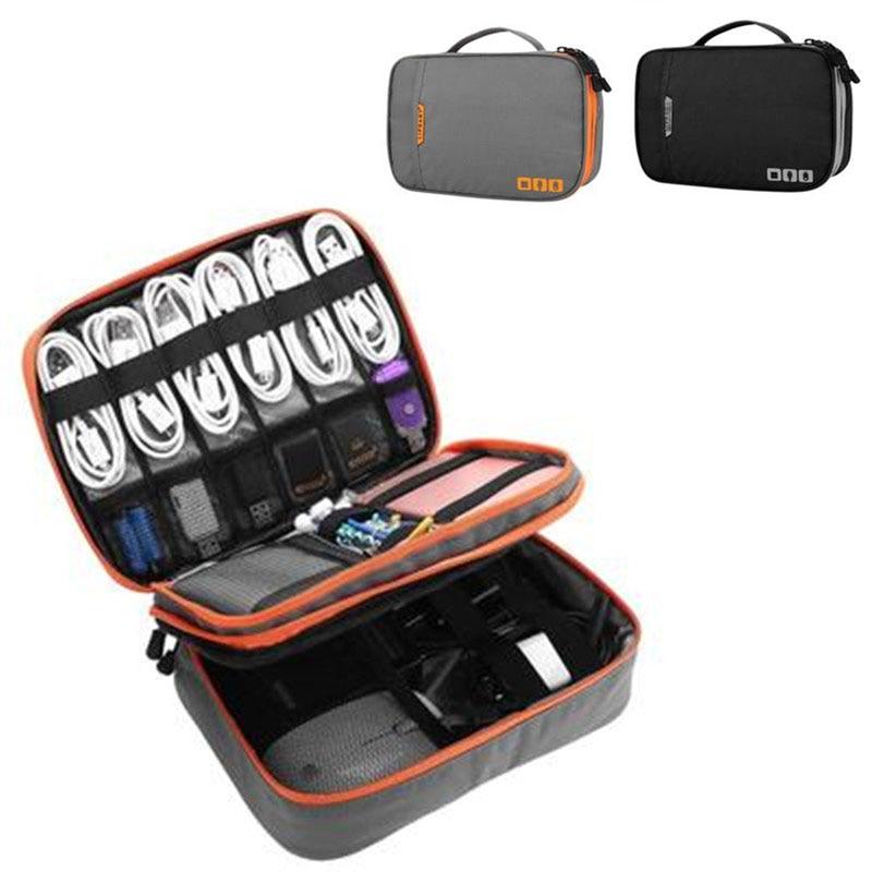 Portable Large Capacity USB Flash Drives Case Organizer Bag Digital Neat Convenient Solid Storage Pouch Data Earphone Cable Bag