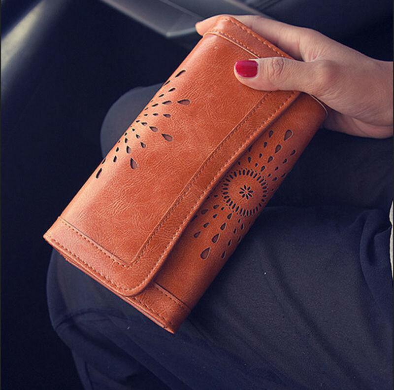 Ladies Wallet  Women Boho PU Leather Wallet Handbag Clutch Bag Phone Card Cash Holder Long Purse /BY