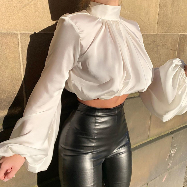 ISAROSE Women Silk Blouses Fashion Short Shirt Turtleneck Long Lantern Sleeve Crop Tops Blouse Office Lady All-Match Clothing 2